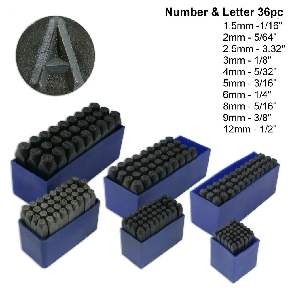 letter and number punch set 36pc number amp letter punch set alpha numeric carbon steel 21017 | s l1000
