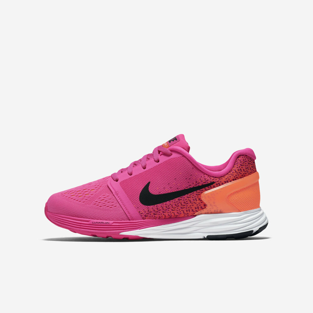 brand new bf44b 017cc Details about Youth Nike Lunarglide 7 (GS) Pink Black White Sz 7Y  747966-600 FREE SHIPPING