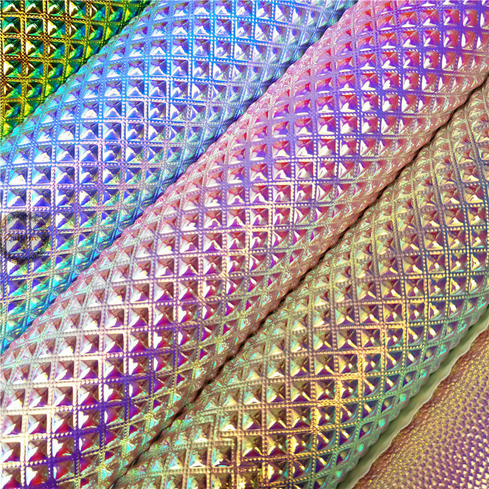 Metallic Iridescent Leather Fabric Holographic Leatherette ...