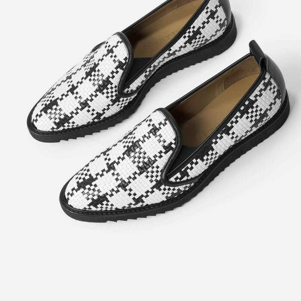 37f64735692 Details about Everlane Women s Slip On Woven Street Shoes Black White Sz 5  1 2 Italy Orig 145