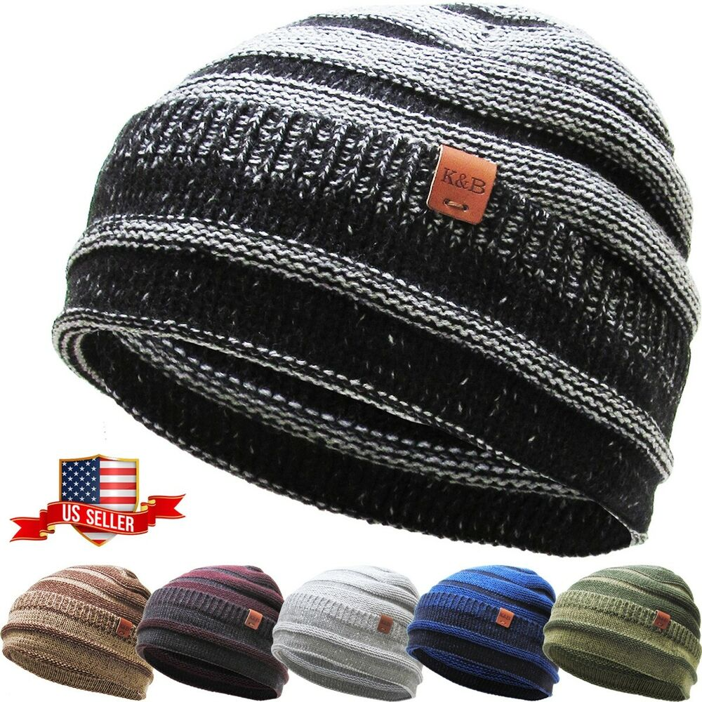Details about Lightweight Striped Beanie Knit Ski Cap Skull Hat Warm Solid  Color Winter Cuf. 01b52a78ca2