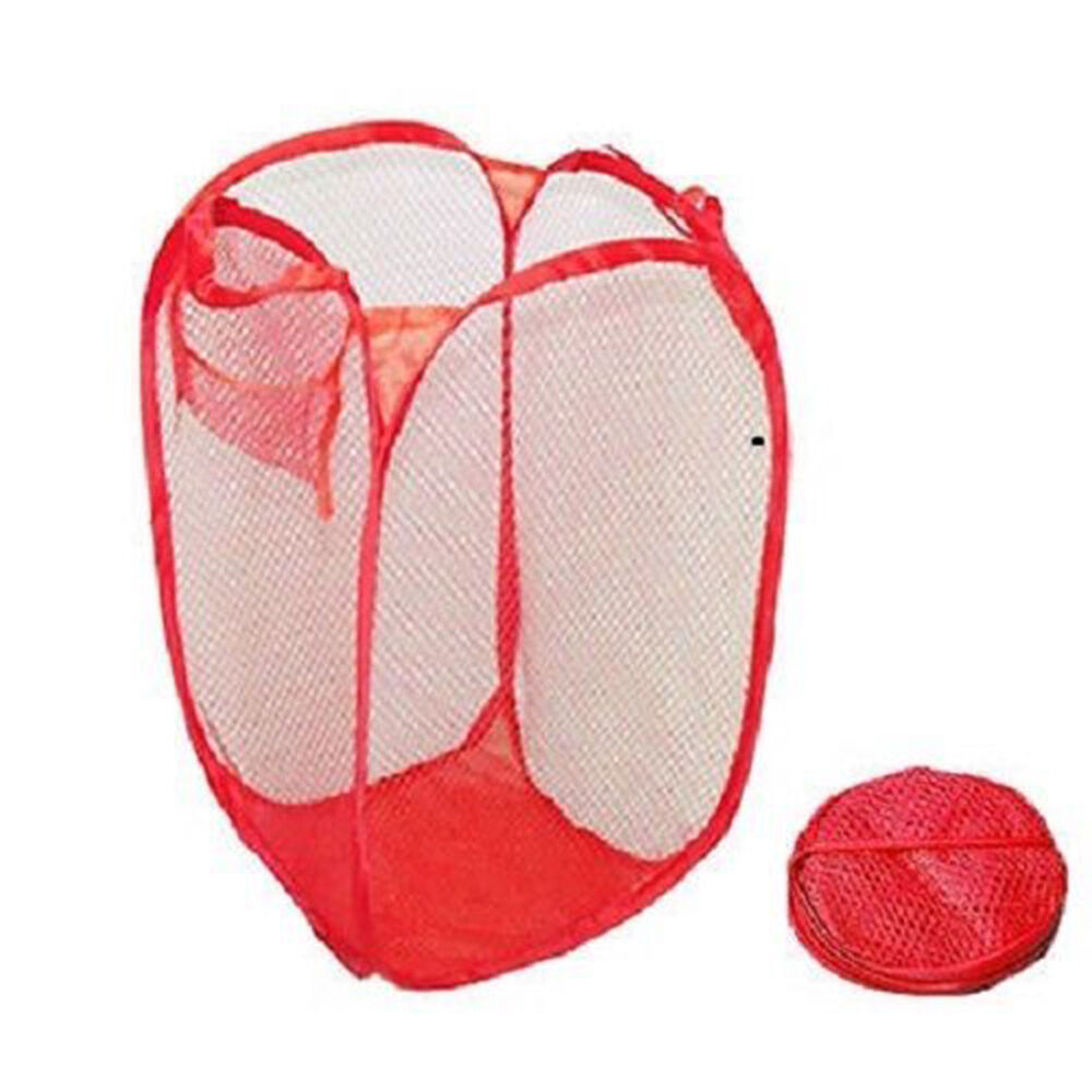 Red Mesh Portable Collapsible Laundry Hamper Clothing Bag