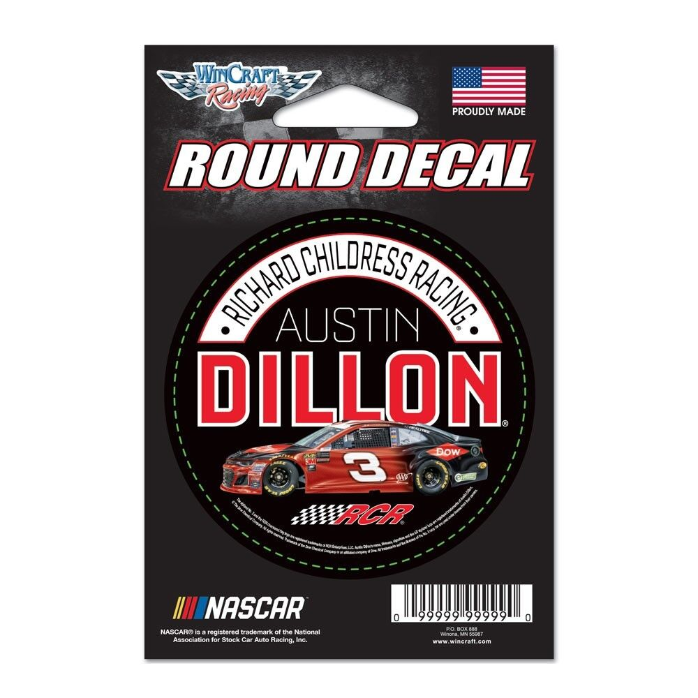 Details about austin dillon 2018 wincraft 3 dow round decal 3 free ship