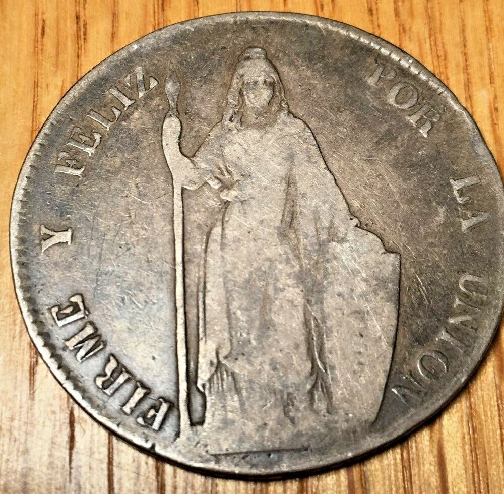 Details About 1847 MB Peru 8 Reales Lima Silver Crown Peso Republic Real Coin South America