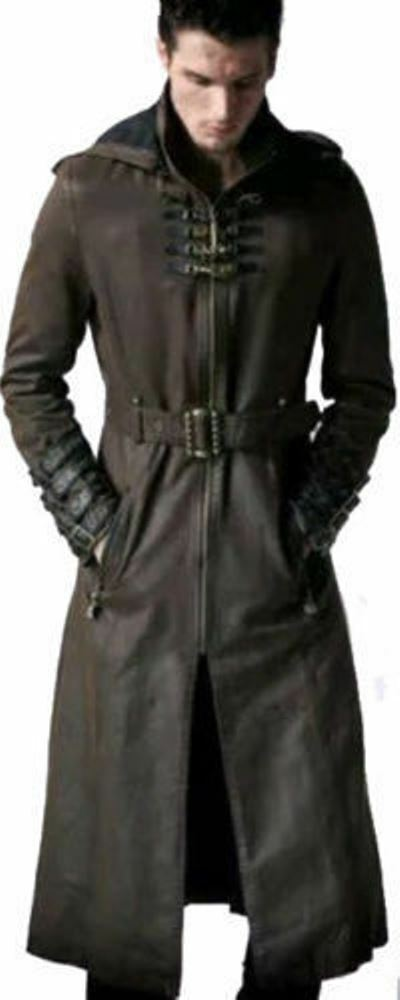 af4fe57eead Details about MEN S GOTHIC LONG TRENCH COAT STEAMPUNK HOODED MILITARY STYLE  LEATHER COAT