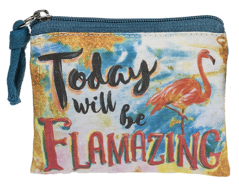 Ganz E8 Flamingo 4x3in Canvas Today Will Be Flamazing Coin Purse Bag ...