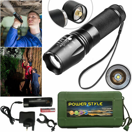 img-Tactical 8000LM XMLT6 Zoomable LED Flashlight Rechargeable Torch Lamp Light BOX
