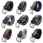 CHILDRENS BELTS KIDS WEBBING ELASTICATED BOYS BELTS LEATHER TRIM GIRLS BRAIDED