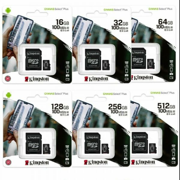 KINGSTON MICRO SD 16 32 64 128 GB CL10 MICROSD 80 MB/S Canvas MEMORIA ORIGINALI
