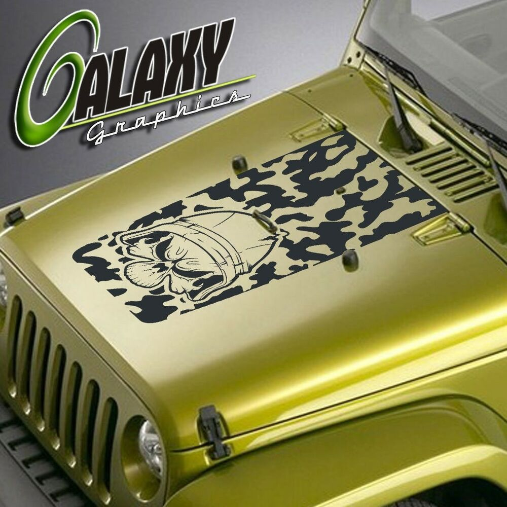 Details about jeep wrangler blackout hood decal camo skull matte black sticker tj lj jk