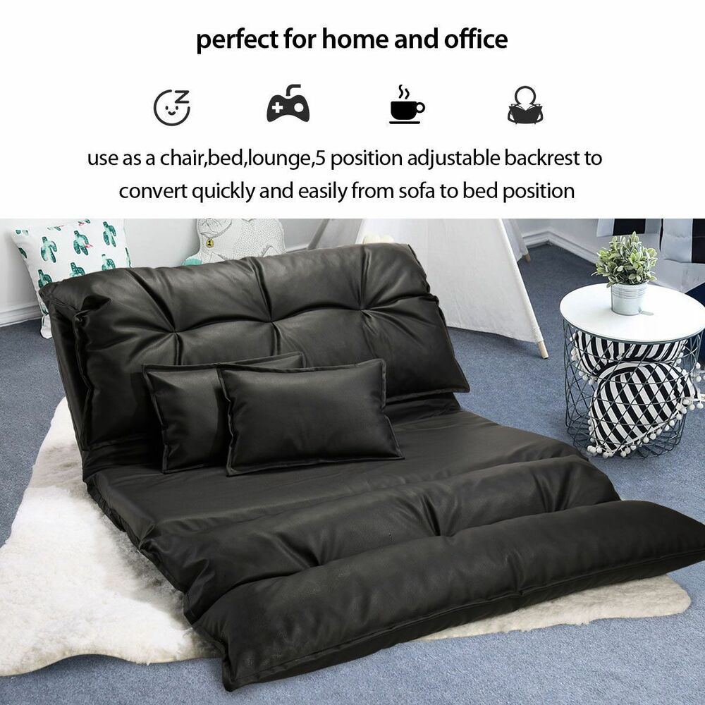Adjule Floor Sofa Bed Lounge Lazy Man Couch With Pillows Ebay