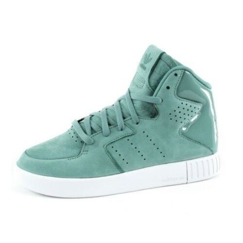 on sale ca57b bbcf0 Details about New Womens Girls Adidas Tubular Invader 2.0 Mid Hi Trainers  Green White UK 4.5 5