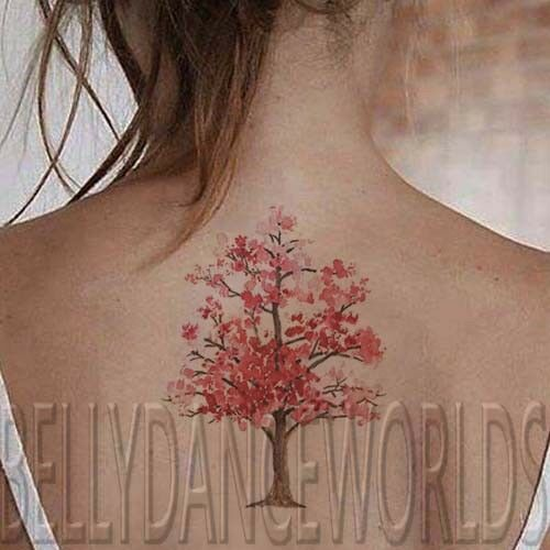 1 Set Of 3 Red Or Pink Watercolor Cherry Blossom Tree Trees