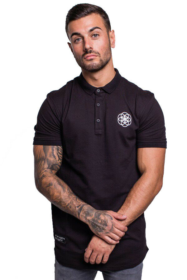a51c941a Details about Scar Tissue Polo Shirt Short Sleeve Curved Hem - Black
