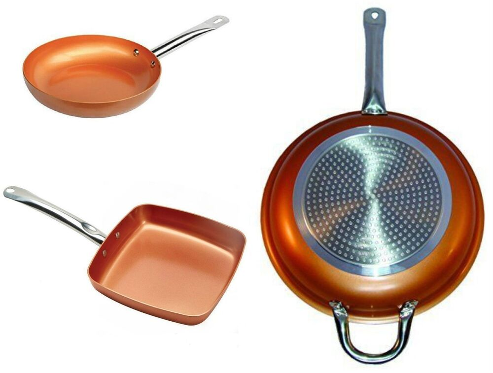 3 Copper Frying Pan Set Non Stick Fry Skillet Chef