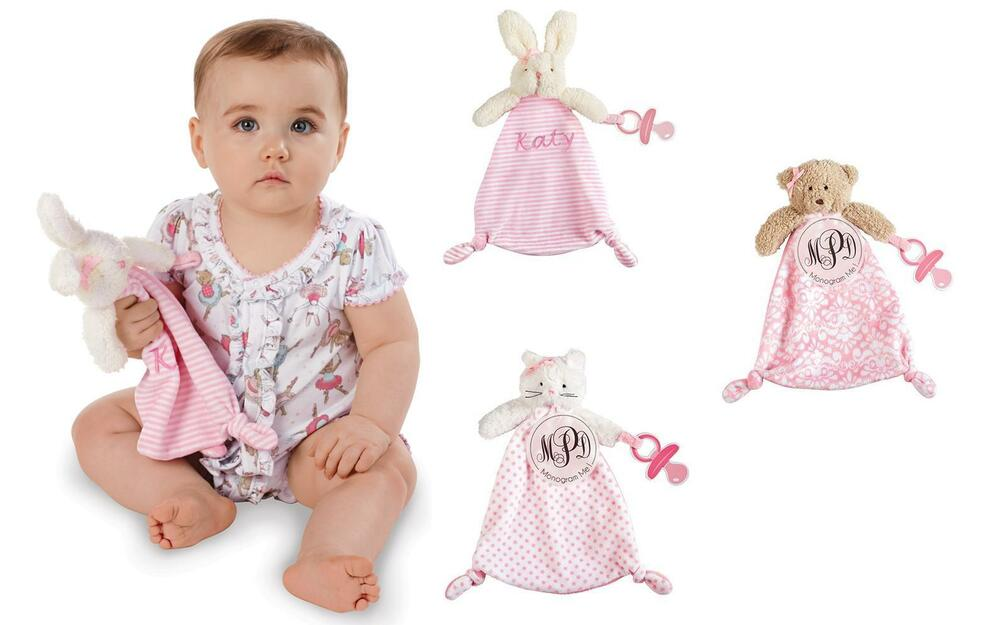 f3312265ed93 Detalhes sobre Mud Pie E8 Baby Girl Pacy Pal Pacifier Clip Cuddlers Bunny