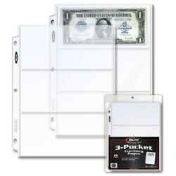 Kyпить 20 Clear Album Pages 3 Pockets Currency Banknotes Bills PVC FREE For Binders bcw на еВаy.соm