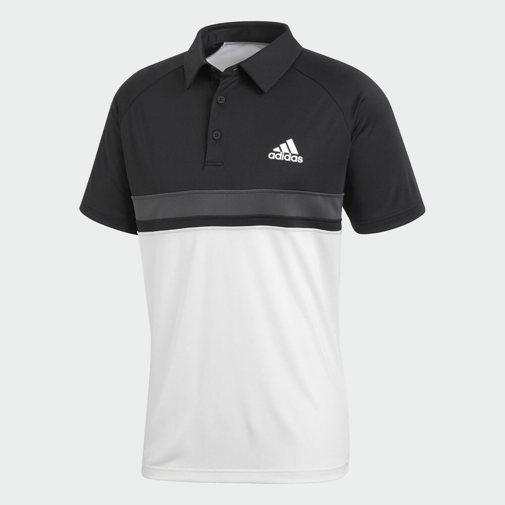 Details about adidas Color Block Club Polo Tee tshirt NEW men CE1420 black  white 33ef1c147b0cb