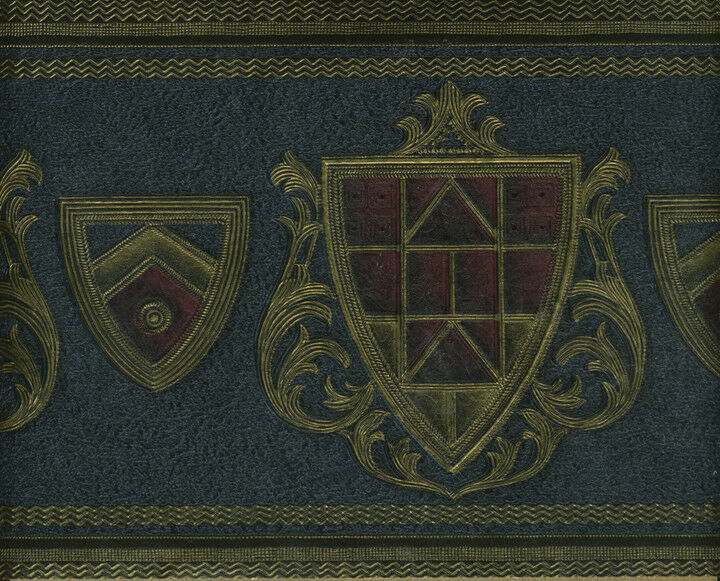 Coat Of Arms Navy Blue Burgundy And Gold Wallpaper Border