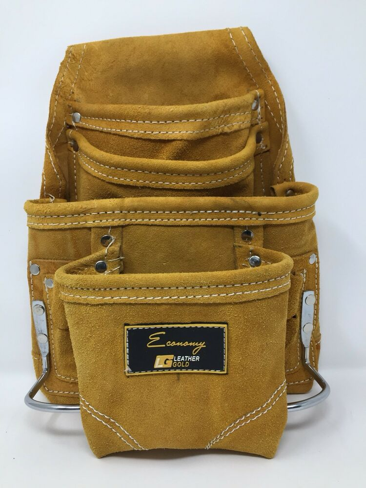 Leather Gold Economy 10-Pocket Suede Leather Carpenter Tool Bag & Storage Pouch. 703856222083 eBay
