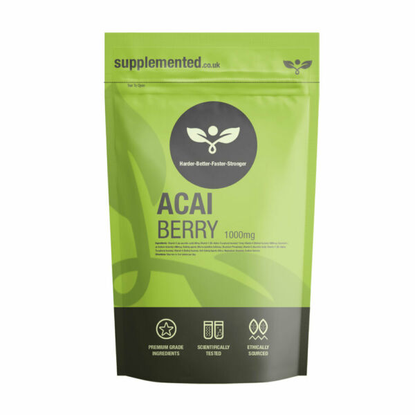 Acai Berry 1000mg Pillole Disintossicante Pulizia Del Colon Dieta ✔ UK Prodotto
