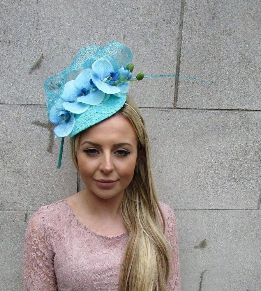 Details about Turquoise Blue Green Orchid Flower Feather Hat Fascinator  Headband Races 5488 575e8b47713