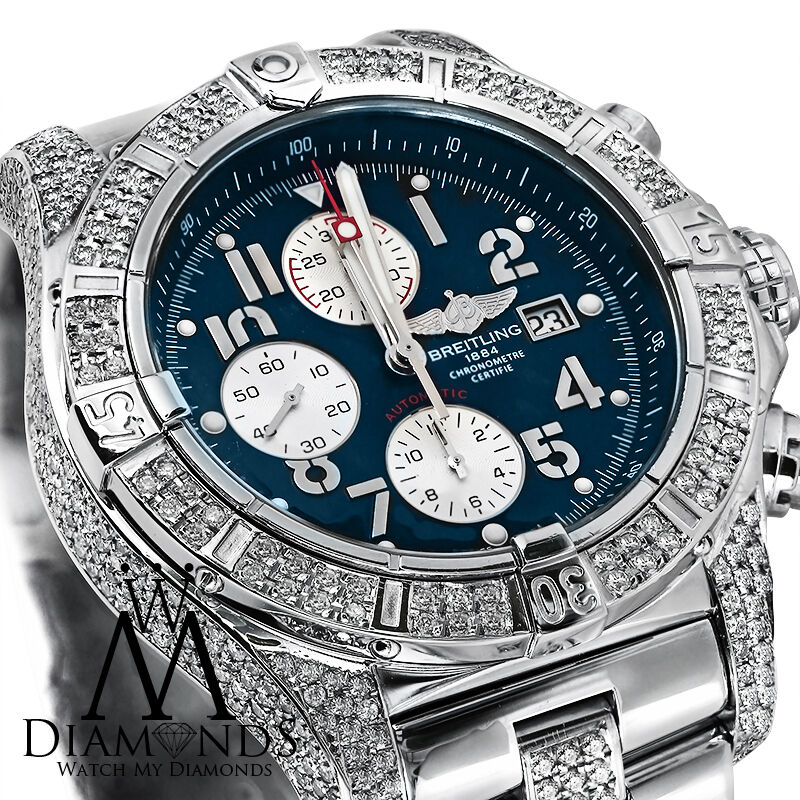 Diamond breitling super avenger a13370 blue dial watch 2 row diamond bezel ebay for Avengers watches