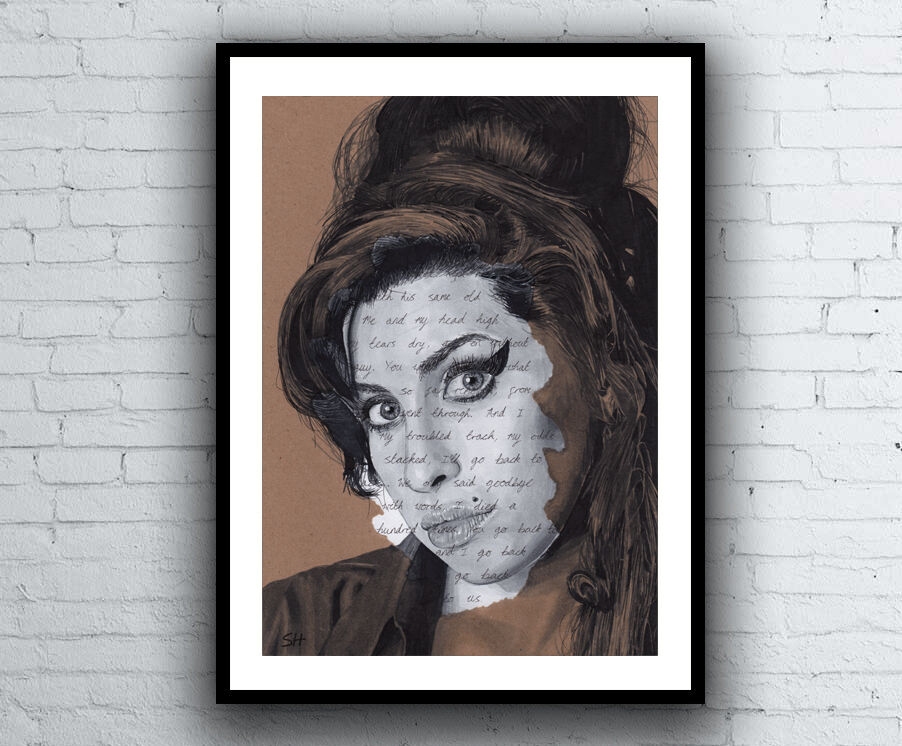 Amy Winehouse Portrait Drawing Giclee Art Print With Back To Black