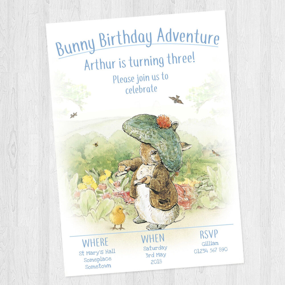 10 X Personalised Peter Rabbit Benjamin Bunny Birthday Party