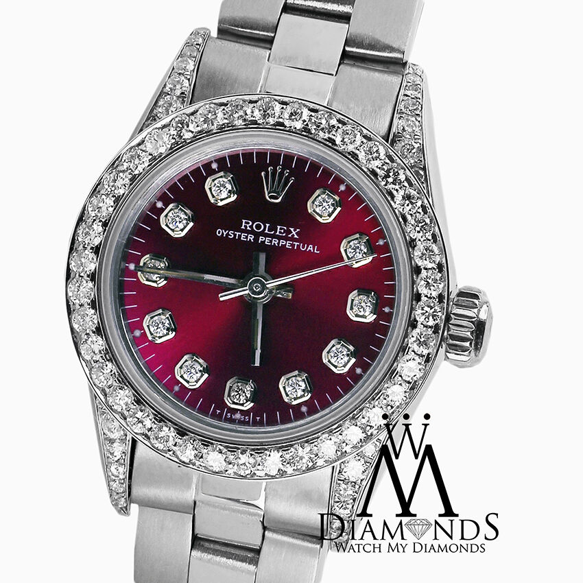 c789e514d867 Details about Rolex Oyster Perpetual 26mm Red Grape Index Diamond Stainless Steel  Watch