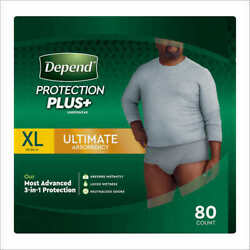 Depend FIT-FLEX Underwear for Men Size: XLarge - 80Ct - Free Shipping!