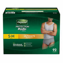Depend FIT-FLEX Underwear for Men Size: Sm/Med - 92Ct - Free Shipping! No Tax!