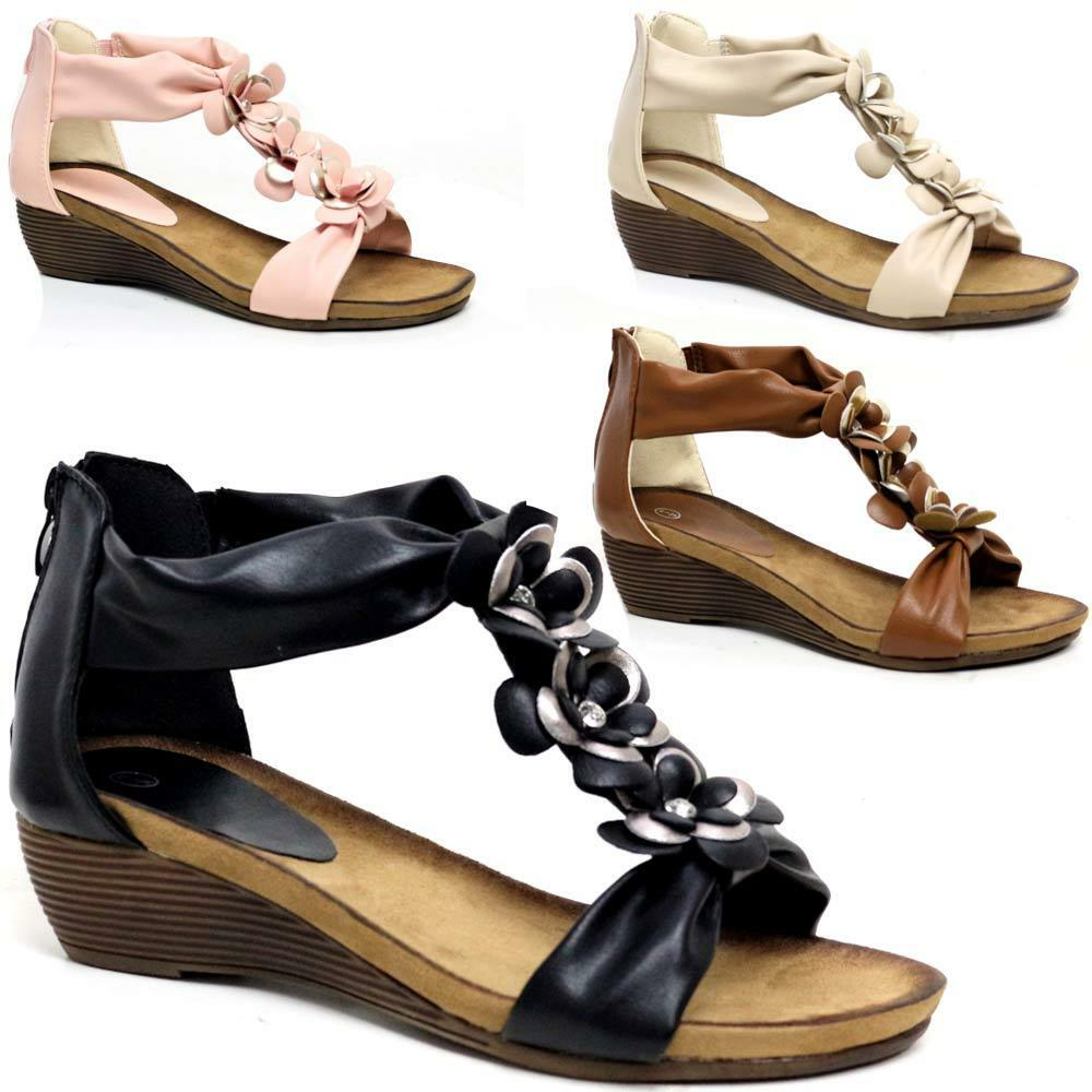 ef4a2dc8c6eb Details about LADIES WEDGE SANDALS WOMENS HEELS NEW FANCY SUMMER DRESS  PARTY BEACH SHOES SIZE