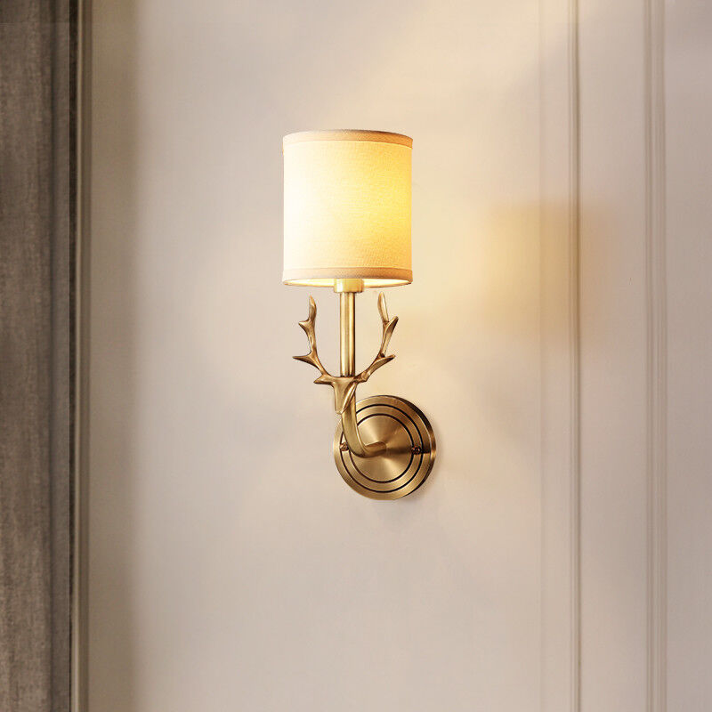 Details About Retro Br Antler Horn One Lamp Bedroom Wall Lights Sconces White Fabric Shade