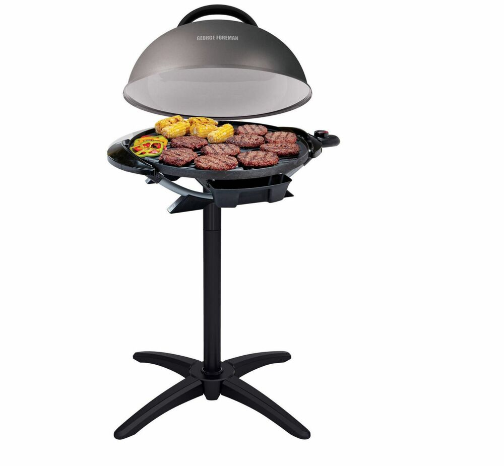 George Foreman Electric Grill w/ Stand Indoor Outdoor Cooking BBQ ...