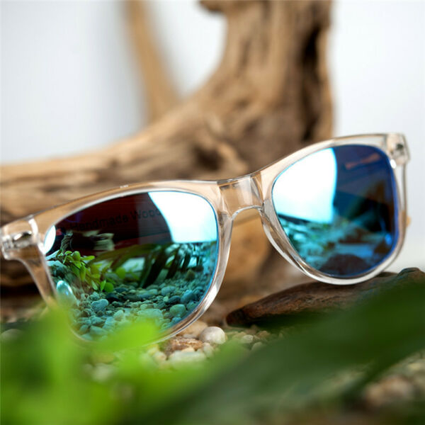 Fashion Sunglasses Transparent Plastic Bamboo Frame with UV 400 Polarized Lenses