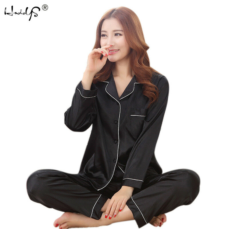 9663d8318 Women Lady Silk Satin Pajamas Set Pyjama Sleepwear Nightwear ...