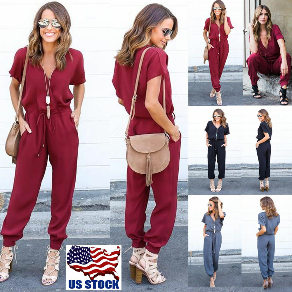 d3fbfd90497 Details about Women s Bodycon Deep V-Neck Short Sleeve Playsuit Romper  Jumpsuit Pants Clubwear