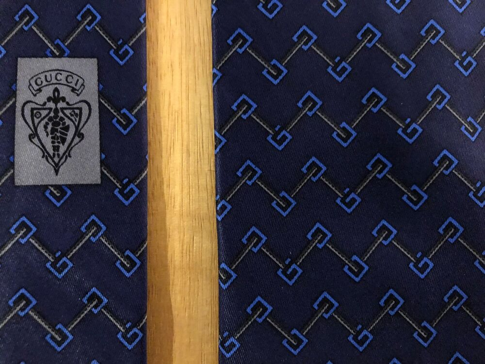 2a078a5ed92f Details about GUCCI Italy 100% Silk Satin Tie Navy   Blue