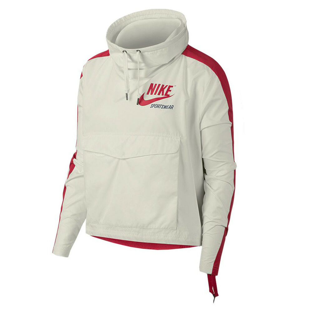 520f0736b87c4 Details about Nike Wmns NSW Archive Crop Hooded Jacket Red White Color  Polyester 920913-133