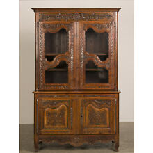 Antique French Louis XV Cherrywood Buffet Display Cabinet Bibliotheque c. 1760