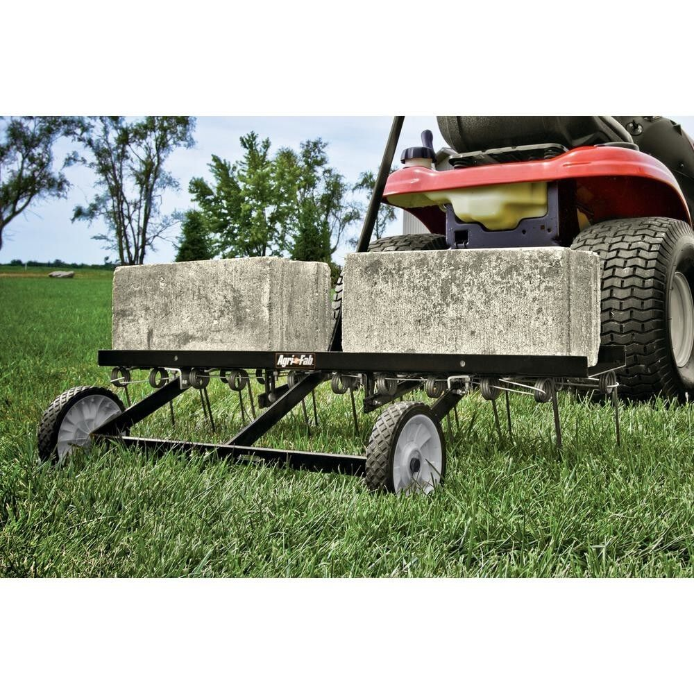 Pull Behind Rake For Lawn Tractor : Tractor tow lawn dethatcher tines pull up grass rake
