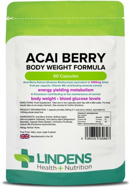 Acai Berry 1000mg Weight Loss 60 Capsules Detox Diet Fat Burner Extreme Lindens