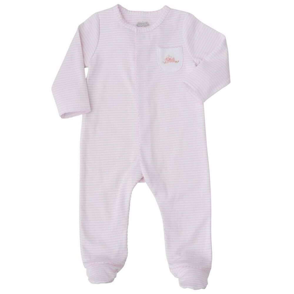 fd0d79969 Mud Pie E8 Classic Layette Baby Girl French Knot Bunny Sleeper ...