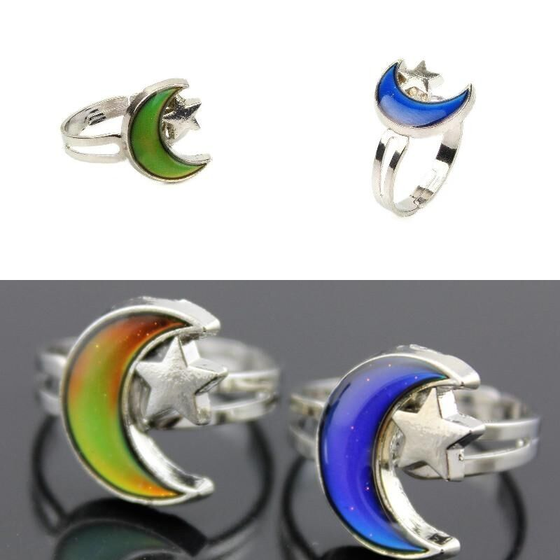 Kids Adult Moon Mood Ring Emotion Feeling Adjustable Band W Color