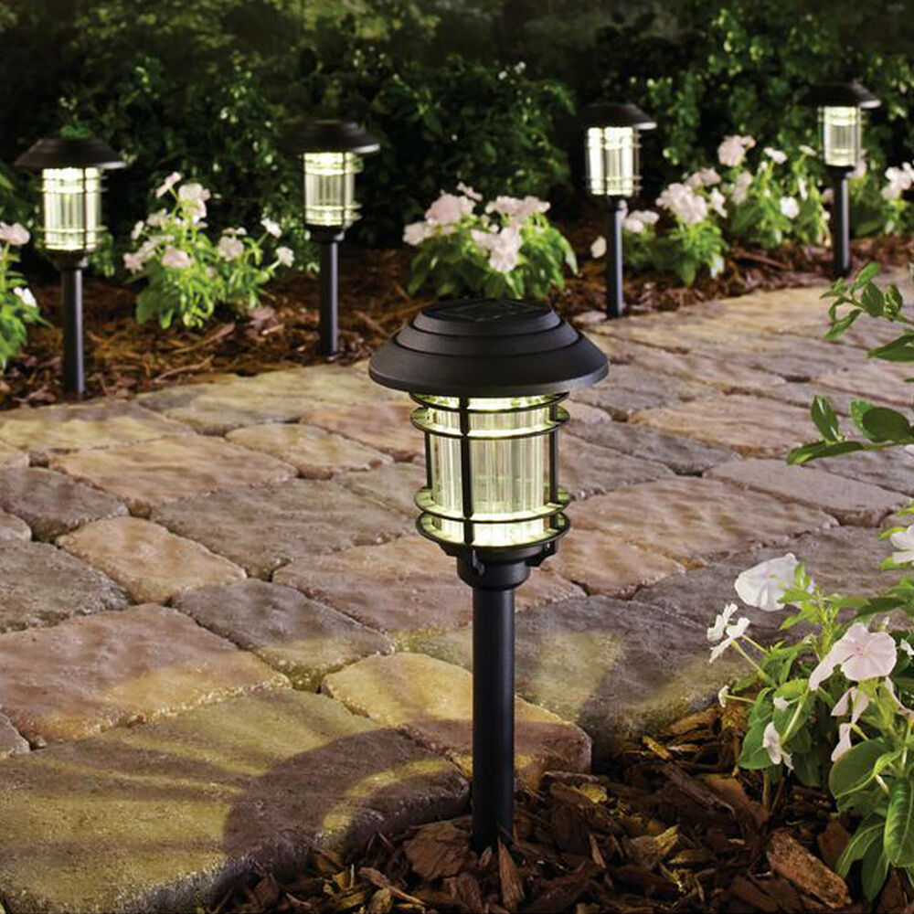 SOLAR LED PATHWAY LIGHTS Outdoor Path Light Garden Walkway Lamp Black 6 PACK 665614869575  eBay