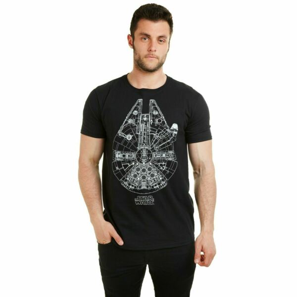 Star Wars Official Merch - Mens T-Shirt - Millenium Falcon Print - Black