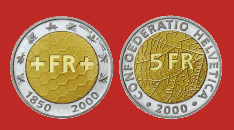 Details About Switzerland Bimetal 5 Francs 2000 150 Years Of The Swiss Franc Proof
