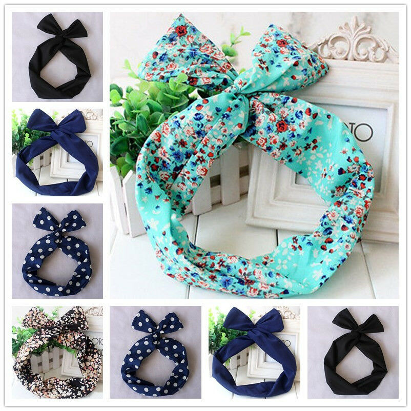 50\'s BUNNY EARS RIBBON TIE BOW BENDY WIRE / WIRED HAIR SCARF HEAD WRAP BAND Pop | eBay
