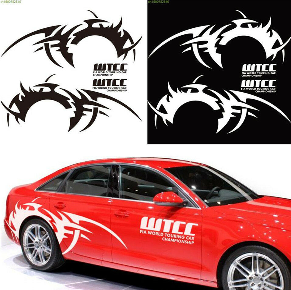 Details about 2pcs white color car side body diy waterproof vinyl decal sticker flame pattern